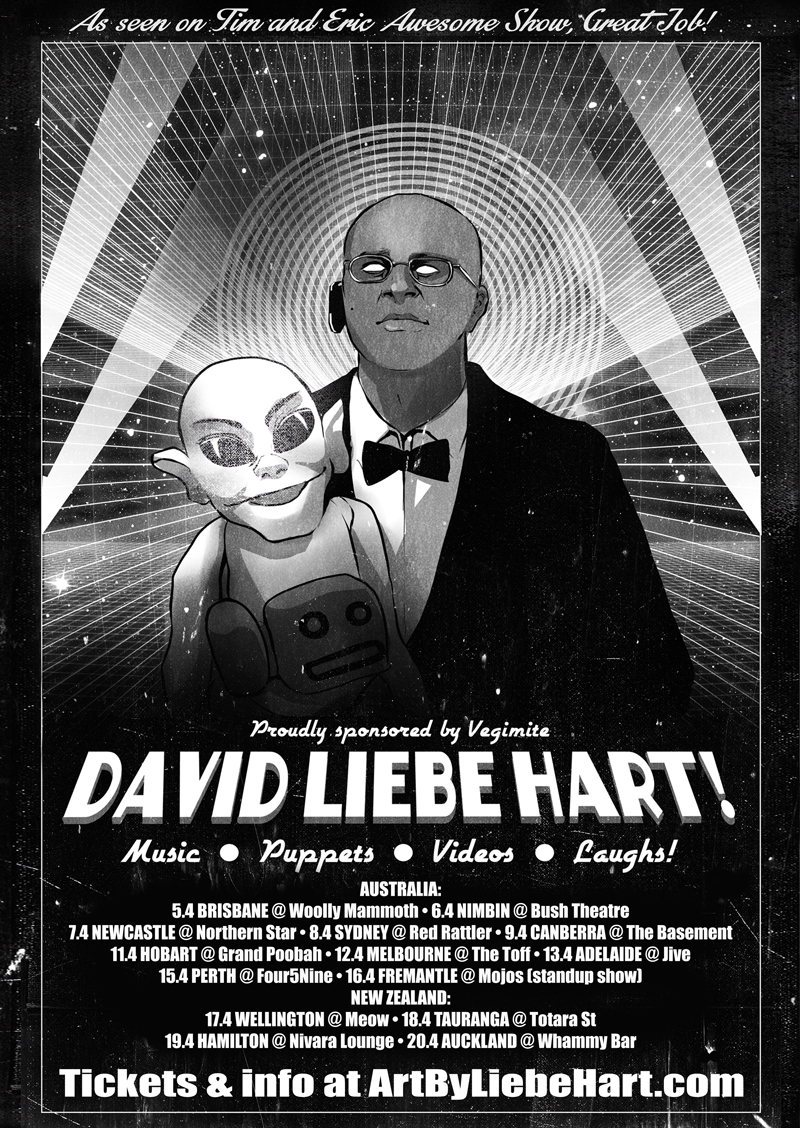 David Liebe Hart's 2016 Australia/New Zealand Tour poster